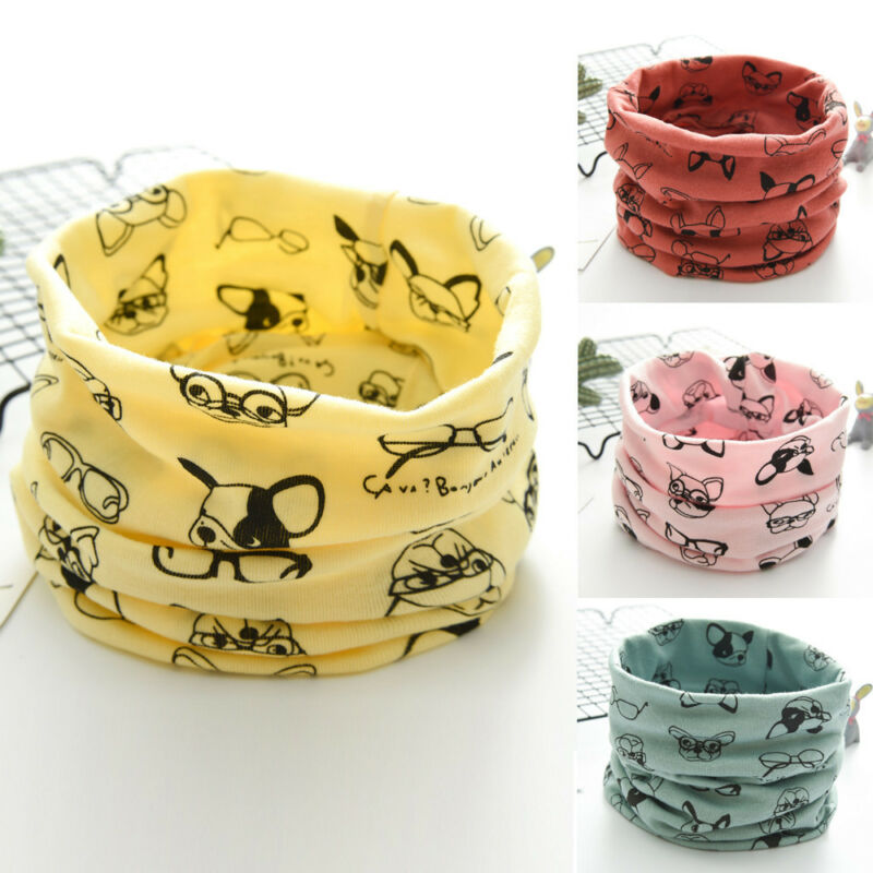 Autumn Winter Boy Girls Baby Cartoon Dog Warm Scarf Cotton Neck Scarves Colorful