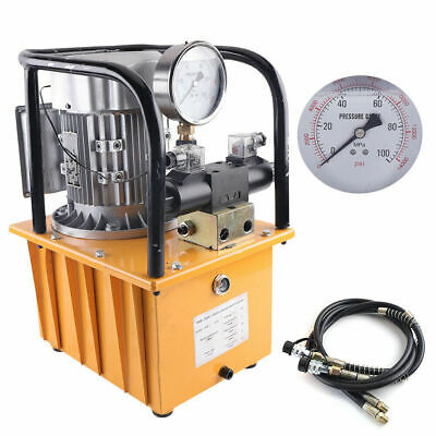 Electric Driven Hydraulic Pump Double Acting 750w Solenoid Valve W Oil Hose Usa