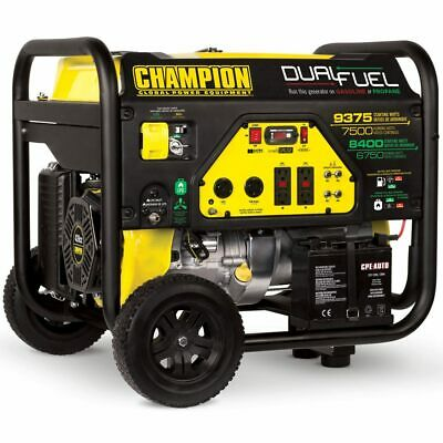 Champion 100165 - 7500 Watt Electric Start Dual Fuel Portable Generator Carb