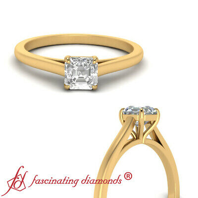 High Set Solitaire Engagement Ring With 1/2 Carat Asscher Cut Diamond In Center