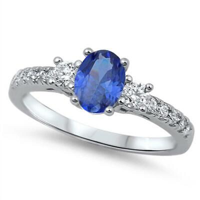 Oval Cut Blue Sapphire Round CZ Three Stone Solitaire 925 Sterling Silver Ring