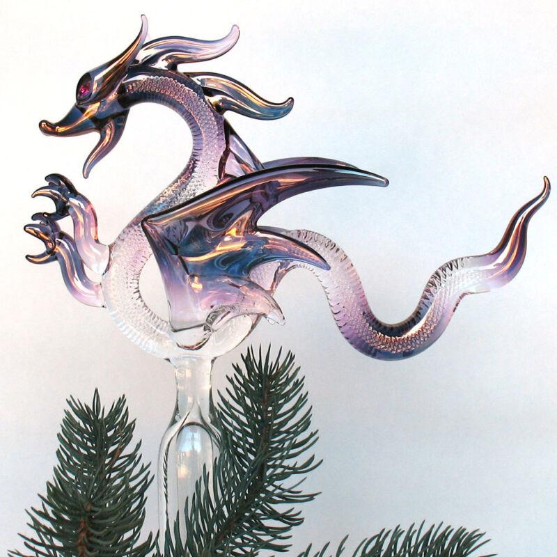 Dragon Christmas Tree Topper Blown Glass Ornament