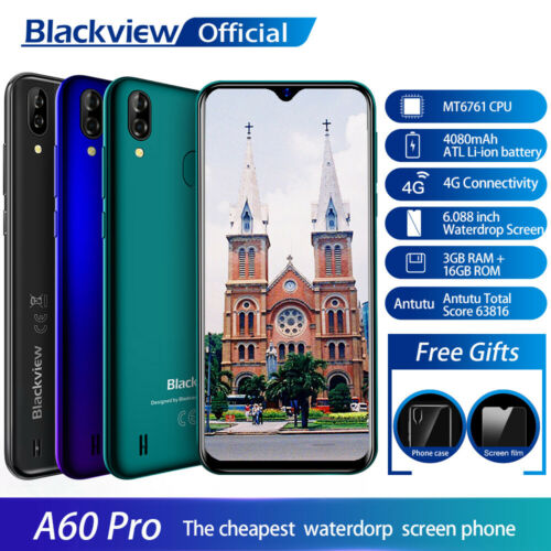 """Blackview A60 Pro 4G 4080mAh Smartphone 6,1"""" Waterdrop Bildschirm Handy 3GB RAM"""