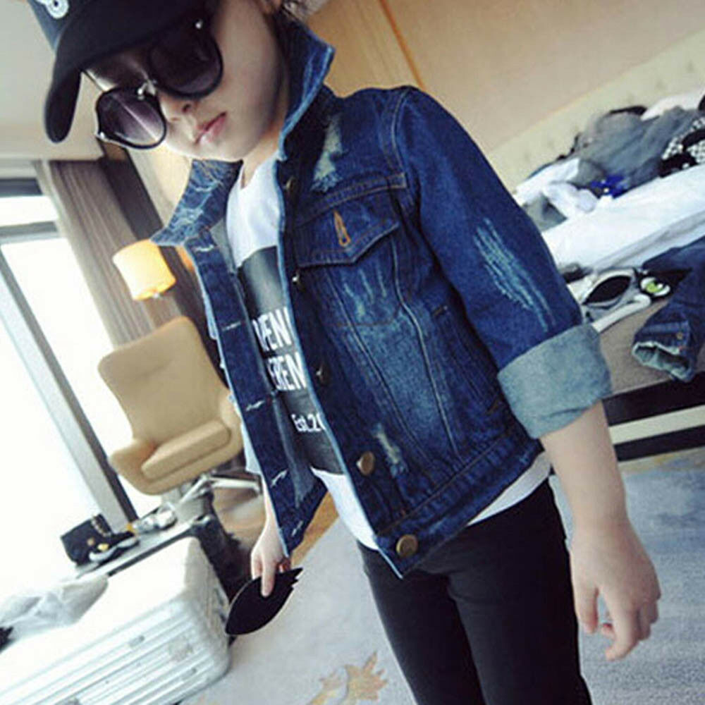 Stylish Child Kids Toddler Baby Girl Jacket Washed Denim Coat Outwear Overcoat