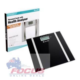 Electronic Digital Body Fat Hydration Bathroom Glass Scale Black
