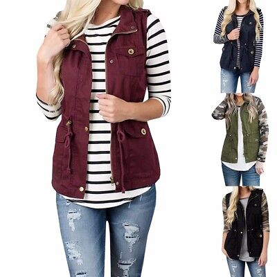 (Fashion Women Lightweight Sleeveless Stretchy Drawstring Jacket Vest with Zipper)