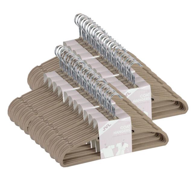JVL Mink Beige 10 - 500 Thin Velvet Touch Space Saving Non-slip Coat Hangers