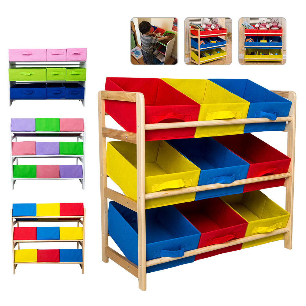 3-Tier Timber Kids Children Toy Organiser Storage Rack Wooden Shelf Display Unit