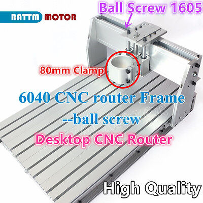 6040 Desktop Ball Screw Aluminum Cnc Router Frame Milling Machine Kit 80mm Clamp