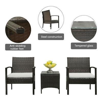 Patio Sofa Set 3 Pcs Outdoor Furniture Set PE Rattan Wicker