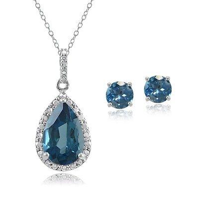 925 Silver 4.3ct London Blue Topaz & Diamond Teardrop Necklace & Earrings Set