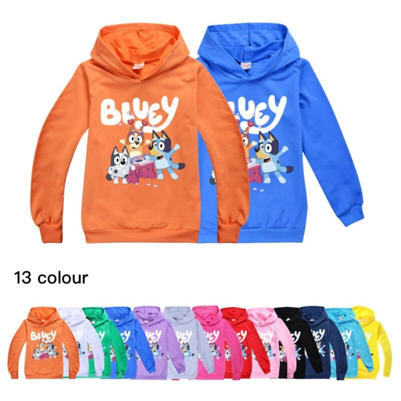 Bluey Kids Hooded Hoodie Boys Girls Casual Long Sleeve Hooded Pullover Tops US