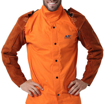 Ap-9115 Coffee 22 Fire Resistant Full Cowhide Leather Welding Sleeves W Buckle