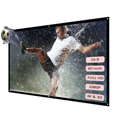 """60"""" Manual Pull Down Projector Projection Screen White New 16:9 3D Movies Y2I4"""