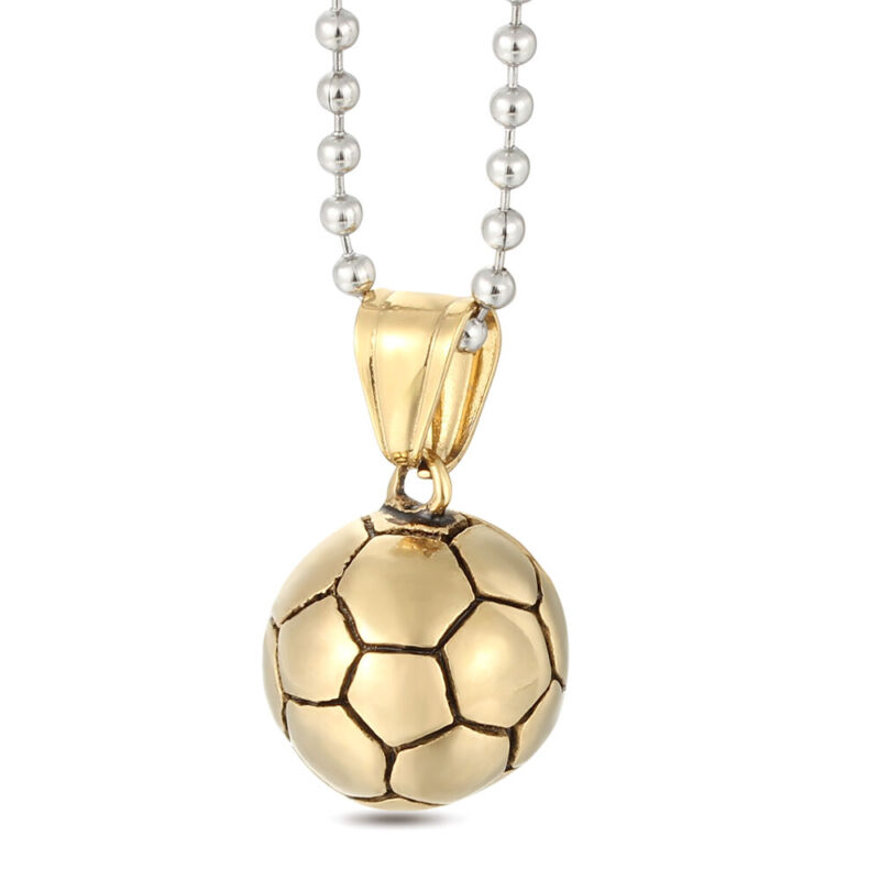 6Pcs/Lot Fashion Stainless Steel Men Plated Gold Pendant Football Chain Necklace