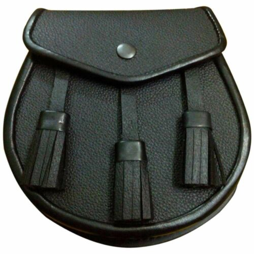 Scottish Plain Black Leather Kilt Sporran & Leather Chain Strap