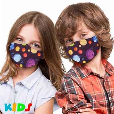 Stoffmaske Kinder Planeten Mundschutz Maske Kindermaske Weltraum Sterne Violett