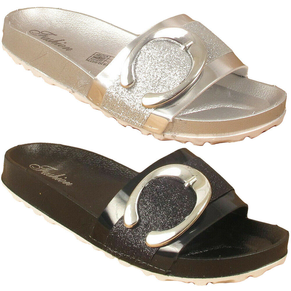 Womens Slipper Slip On Flip Flops Buckle Sandals Ladies Beach Shoes UK Size 3-8