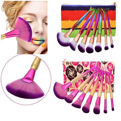 Meerjungfrau Schwanz 7 Stück Make-up Pinsel Lidschatten Kits Tasche Für Teen (Make Up Kits Für Teens)