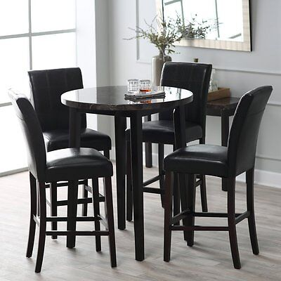 5 Piece Pub Dining Room - Faux Marble Round Table Top 5 Piece Pub Set Home Living Dining Room Furniture