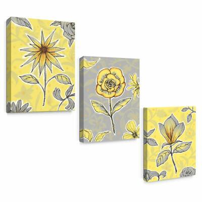 Wall Art Framed Canvas Modern Bathroom Yellow and Grey Flowers Print Home Decor](Grey And Yellow Decor)