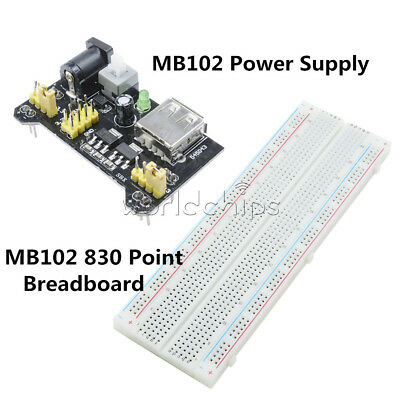 Mb102 Solderless Breadboard Pcb 830 Point 3.3v5v Mb102 Power Supply Module