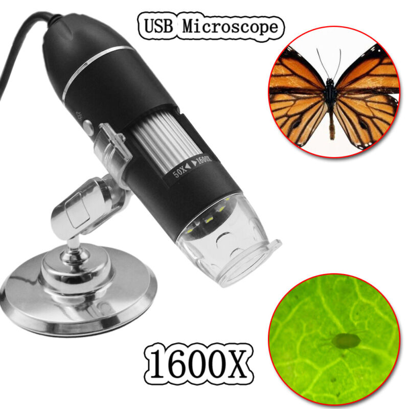 1600X Quality 8LED USB Digital Microscope Endoscope Zoom Camera Magnifier +Stand