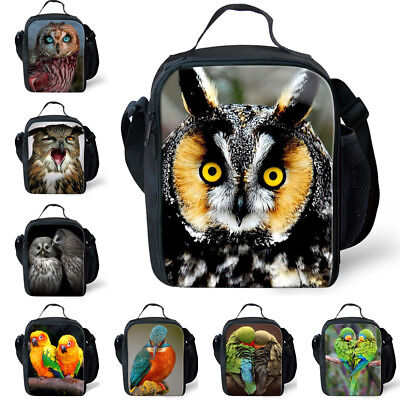 Kids Boy's Food Storage Bag Cool Owl Parrot Print Lunch Bags For Student - Cool Lunch Bags For Boys