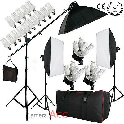 Pro Studio Photo 2850W Continuous Lighting Softbox Kit Bulb/Boom arm/Carrybag