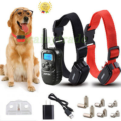 Waterproof Rechargeable LCD 100LV Level Shock Vibra Remote 2 Dog Training Collar