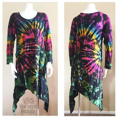 Fair Trade Long Sleeve Rayon Asymmetric Pixie Hem Tie Dye Hippie Gypsy Tunic](Elf Tunic)