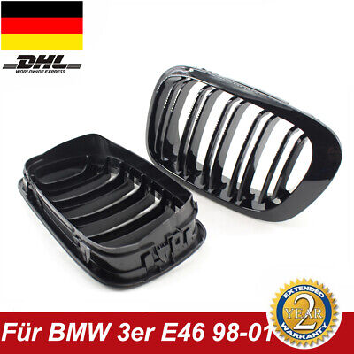 Nieren Kühlergrill für BMW 3er E46 Limo Touring 01-05 Schwarz Glanz Doppelsteg