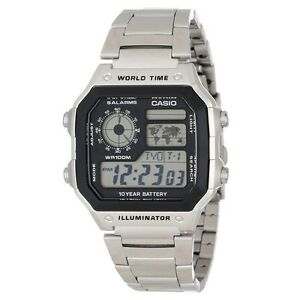 Casio AE1200WHD-1A Mens 100M Stainless Steel Digital Sports Watch 5 ALARMS