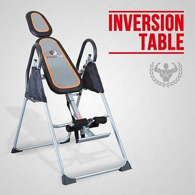 Premium Foldable Grey Inversion Table Back/Neck Pain Relief Therapy Fitness