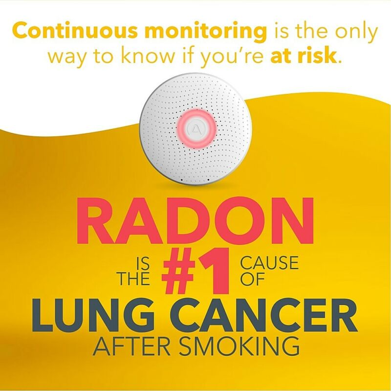 Airthings Wave Smart Radon Detector with Free App, Temp and Humidity Monitor,...