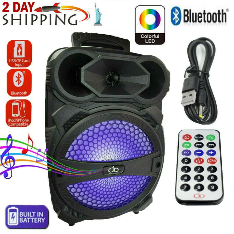"8"" Portable FM Bluetooth Party Speaker Subwoofer Heavy Bass Sound System"