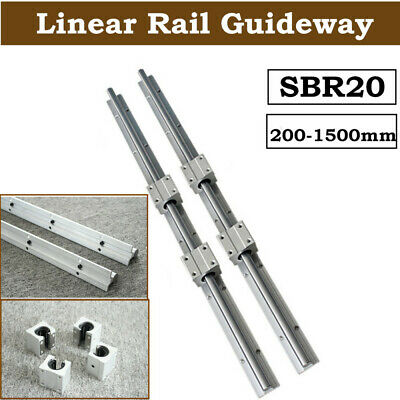 SBR20 Linear Rail Slide Guide 200-2000mm 2X Shaft  SBR20UU Block Bearing Set