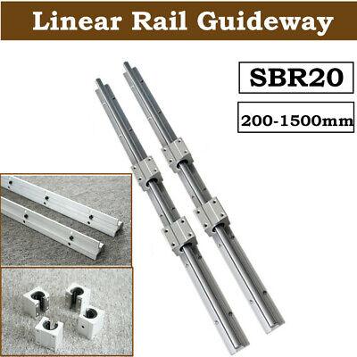 Sbr20 Linear Rail Slide Guide 200-2000mm 2x Shaft Sbr20uu Block Bearing Set