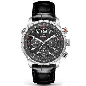 rotary aquaspeed watch mens rotary aquaspeed chronograph leather watch gs00175 04