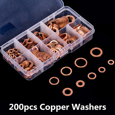 200xSolid Copper Washer M5-M14 Flat Ring Sump Plug Oil Seal Assorted Set For Car