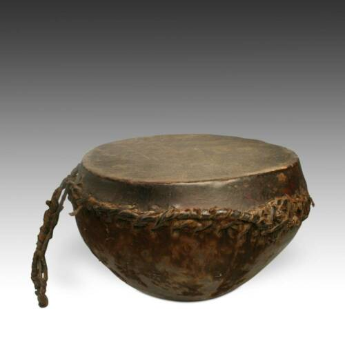 VINTAGE AFRICAN DRUM LEATHER WOOD MUSIC PERCUSSION INSTRUMENT AFRICA 20TH C.