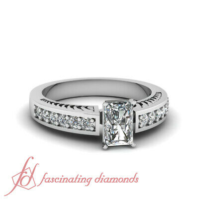 Hand Engraved Pave Set Engagement Ring 0.90 Ct Radiant Cut Diamond SI1-D - Hand Engraved Engagement Setting