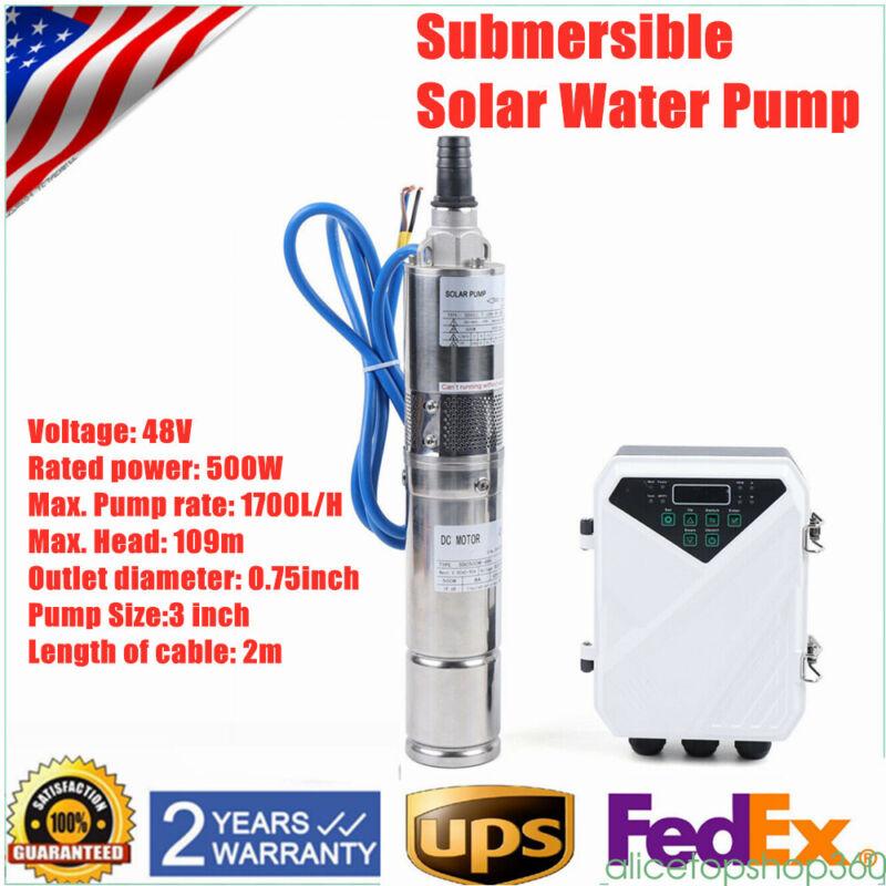 "3"" DC Solar Water Pump 48V 500W Submersible Well Pump Garden Irrigation 1700L/H"
