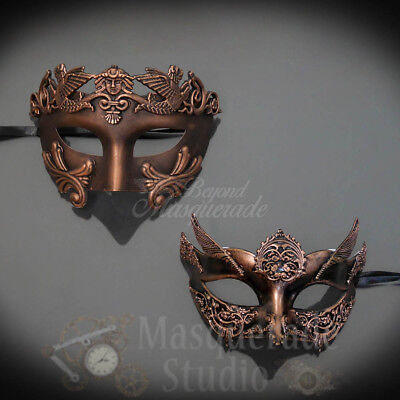 Couples Copper Roman and Copper Angel Costume Party Masquerade Masks Set](Angel Mask)