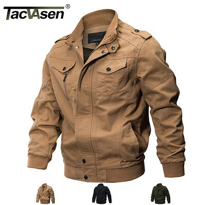 TACVASEN Mens MA-1 Pilot Bomber Jacket Coats Air Force One Military Army Jackets (Military Jacket Men Army)