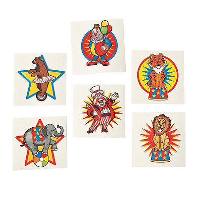 36 Assorted Fun Under The Big Top Circus Kids Temporary Tattoos Party Favors (Big Top Tattoos)