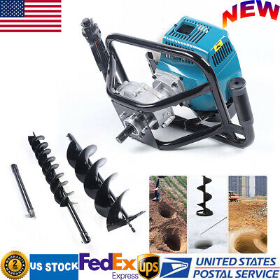 52cc Gas Powered Post Hole Digger Earth Auger2 Drill Bits12 Extension Bar Us