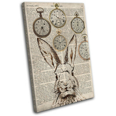 Rabbit Hare Shabby Clocks Old 45x30cm Animals CANVAS WALL ART Print