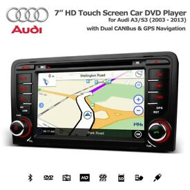 Audi A3 S3 A4 S4 Touchscreen GPS Bluetooth Car Audio Radio DVD Navigation USB SD Aux Stereo