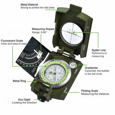 Professional Military Army Sighting Luminous Compass with Inclinometer hunting